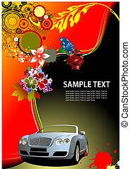 image., kabrió, autó, vektor, háttér, meghívás, virágos, kártya, illustration.