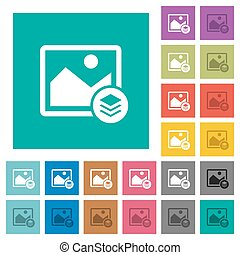Image layers square flat multi colored icons