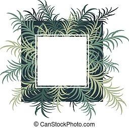 image., leaves., wektor, dłoń, botaniczny, karta
