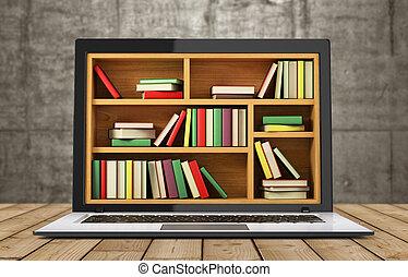 image, library., internet, conceptuel, e-apprendre, education, ou