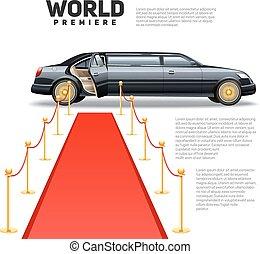 image, limousine, rouges, coloré, moquette