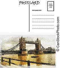 image, londres, gabarit, vide, pont, vide, carte postale