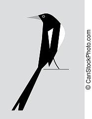 image, magpie2, minimalistic