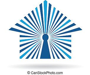 image., maison, concept., vecteur, trou principal, ouvert, icône