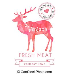 Image meat symbol venison silhouettes of animal for design...