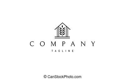 image, middle., logo, blé, oreille, grange, silhouette, résumé, vecteur