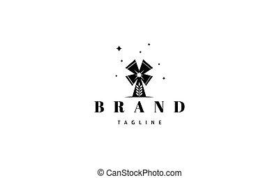 image, middle., logo, blé, oreille, silhouette, résumé, moulin, vecteur