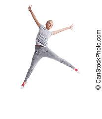 image, mince, saut, poser, girl, joyeux