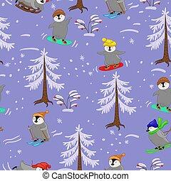 image, modèle, hiver, seamless, penguins., sports, vecteur