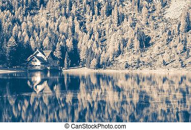 image, montagne, maison, dramatique, noir, paysage, blanc