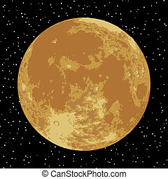 image., moon., eps, réaliste, vecteur, 8