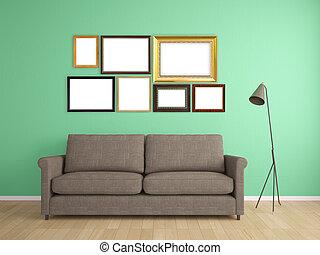 image, mur, sofa, cadre, conception, intérieur, meubles