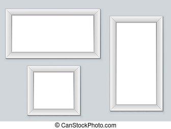 image, mur, vide, vecteur, pendre, cadres, template.