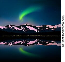 Green northern lights above mountains and sea. Reflecting yellow lights of city in water. Website template.
