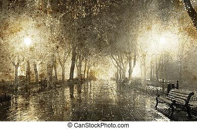 image, nuit, ruelle, ukraine., style., vieux, odessa, lumières, banc, photo