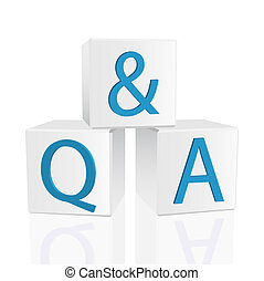 """Image of 3D cubes with the message """"Q & A"""" isolated on a white background."""