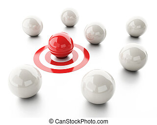 image of 3d red ball on target. business leadership success concept.