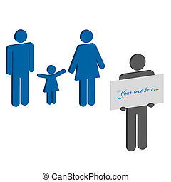 Image of 3d silhouettes and a sign with editable text.