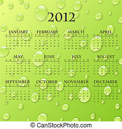 Image of a 2012 calendar with a colorful raindrop background.
