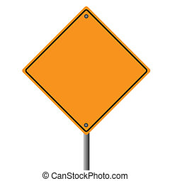 Image of a blank orange road sign.