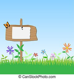 Image of a blank wooden sign with flowers, grass and sky.