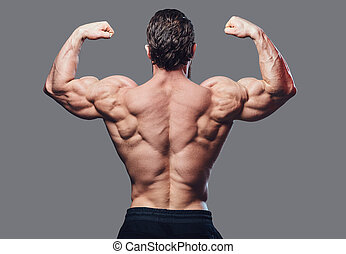 Image of a bodybuilder from a back. - Image of a bodybuilder...