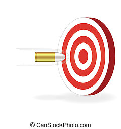 Image of a bullet about to hit a target isolated on a white...