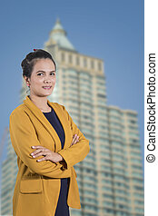 image of a business woman  on the building background