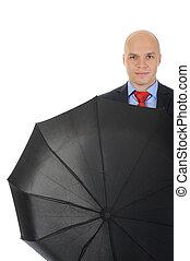 Image of a businessman with umbrella