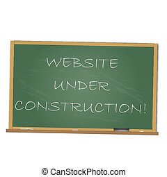 Image of a chalkboard with the message Website Under Construction isolated on a white background.