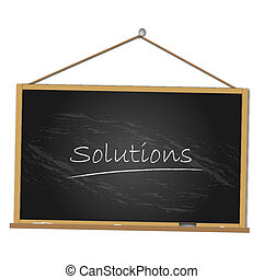 "Image of a chalkboard with the word ""Solutions"" isolated on a white background."