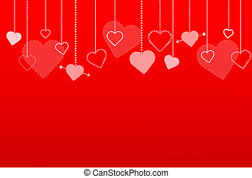 Image of a colorful red background with hearts.