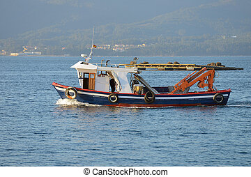 commercial fishing boat at sea