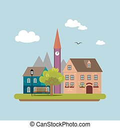 Image of a country town in  flat style. Urban landscape. Vector, illustration EPS10.