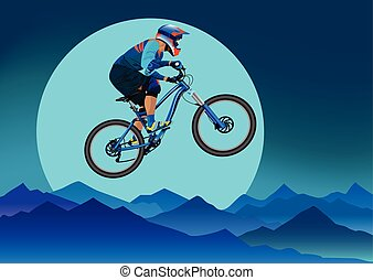 Image of a cyclist on a background of mountains and a big moon