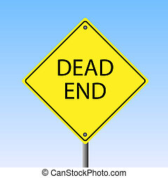 "Image of a ""Dead End"" yellow sign."
