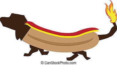 hot dog - Image of a dog dressed up as a hot dog