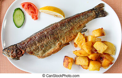 Fried fish ,trout on white plate closeup
