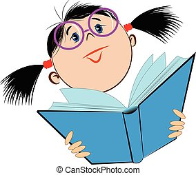 Image of a girl in glasses holding an open book