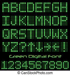 Image of a green digital font on a black background.
