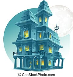 Image of a haunted house on a background of the moon