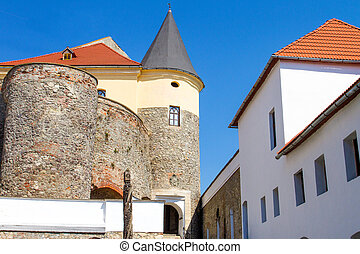 large courtyard of the ancient castle Palanok in the city of Mukachevo Ukraine