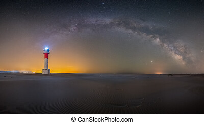Image of a lighthouse at night with the milky way in the background, concept of headlights lights at night with long exposures
