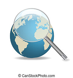 Image of a magnifying glass focusing on the earth isolated on a white background.