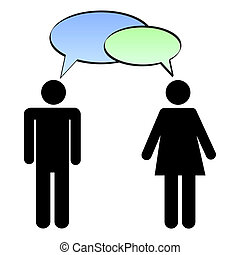 Image of a man and woman with colorful chat bubbles isolated on a white background.