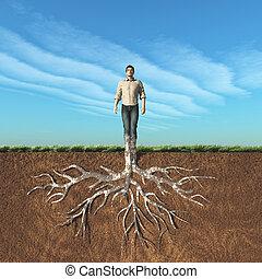 Image of a man that has taken root