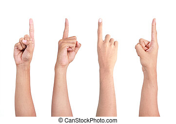 finger pointing - image of a man's finger pointing from four...