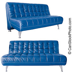 modern blue leather sofa