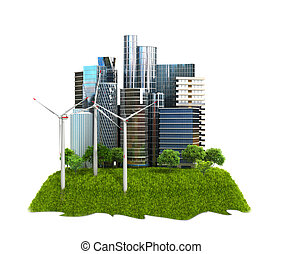 Image of a modern city surrounded by nature landscape. 3d illustration