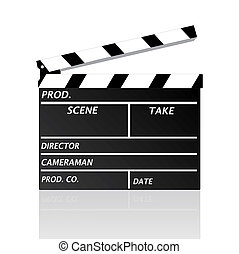 Image of a movie clipboard isolated on a white background.